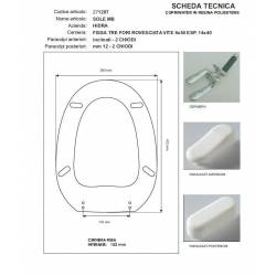 Copriwater Hidra SOLE  BIANCO Cerniera Cromo-Sedile-Asse Wc