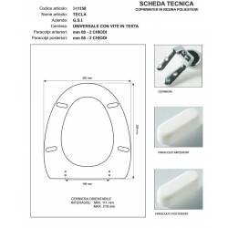 Copriwater G.S.I TECLA BIANCO Cerniera cromo-Sedile-Asse Wc