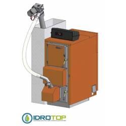 FUEGO DUPLEX INOX Caldaia 33kW combinata legna/pellets versone SAI INOX con produzione acqua calda sanitaria STEP CLIMA