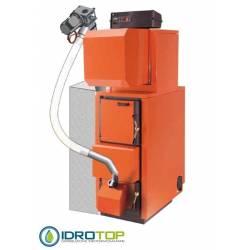 TRIPLEX INOX Caldaia 33kW legna-pellets-gas/gasolio versione SA INOX con produzione acqua calda sanitaria STEP CLIMA