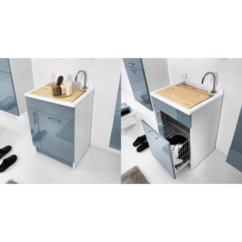 Lavatoio jollywash 45x50 lavapanni con mobile colavene - Mobile portabiancheria sporca ...