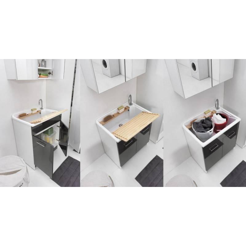 Lavatoio lindo max 75x50 completo di mobile molto - Mobile portabiancheria sporca ...