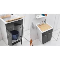 Lavatoio SWASH 50X45, con mobile in vari colori e asse in legno
