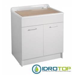 Lavatoio TWIST MAX 80X60,cesto portabiancheria,asse in legno,sifone,vasca in Abs metacrilato BIANCO Colavene