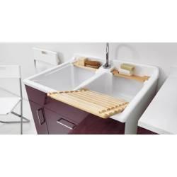 Lavatoio TWIST 80X60,cesto portabiancheria,asse in legno,sifone,vasca in Abs metacrilato  Colavene