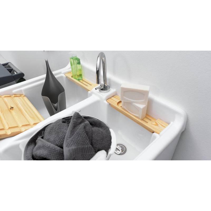 Mobile per esterno lavacril doppia vasca 80x60,tavola di legno ...