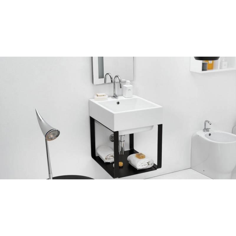 Lavabo 50x50 con mobile sospeso sifone piletta troppopieno - Lavabo sospeso con mobile ...