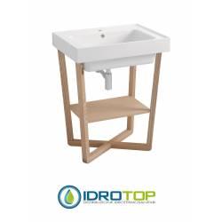 Lavabo 70X50 in Ceramica TRIX con struttura in legno,sifone,piletta,troppopieno,fissaggi per lavabo FRASSINO Colavene