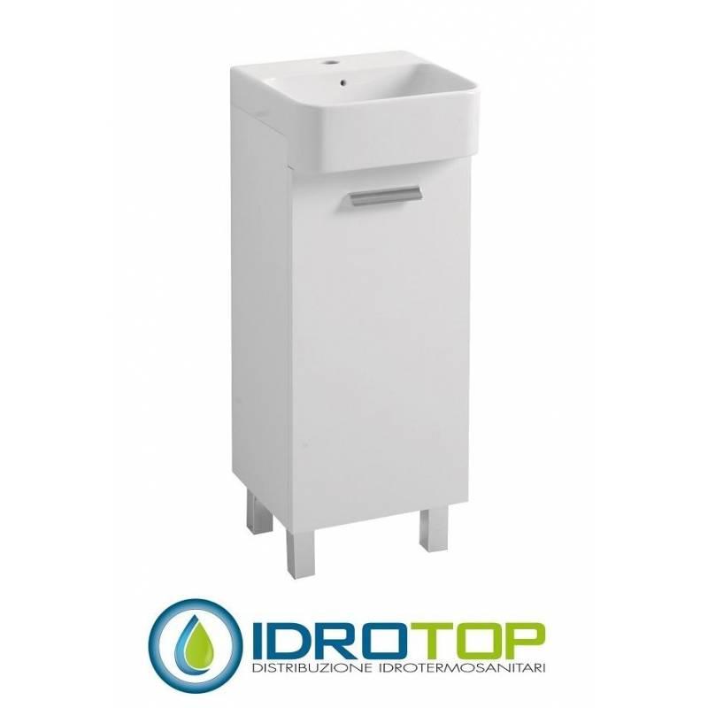 Lavabo 35x35 mini dx con mobile terra e lavabo ceramica - Mini lavabo bagno ...