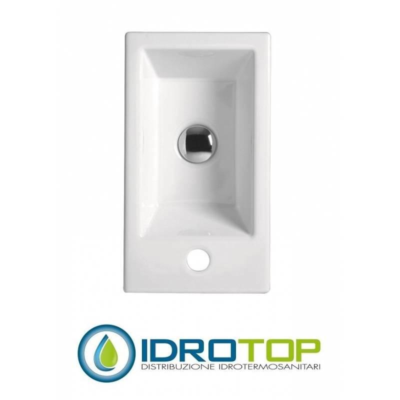 Lavabo 45x25 mini sx con mobile sospeso e lavabo ceramica - Mini lavabo bagno ...