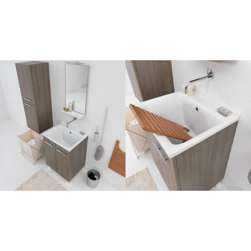 Lavatoio 60X50 in Ceramica con MOBILE a terra-sifone,piletta e ...