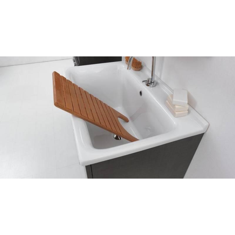 Lavatoio 60x50 in ceramica con mobile a terra sifone piletta e troppopieno bianco - Lavatoio ceramica con mobile ...