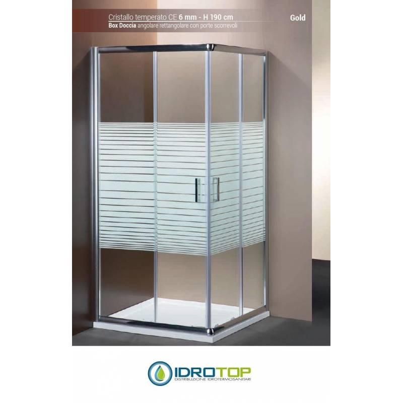 Box Doccia 70x90 Cristallo 6 Mm.Box Doccia Rettangolare 70x90 Cristallo Serigrafato 6mm Telaio Cromato