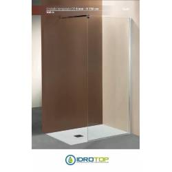 Box Doccia  WALK-IN 120 Cristallo TRASPARENTE 6mm-Telaio CROMATO-Staffa Regolabile PONSI Gold