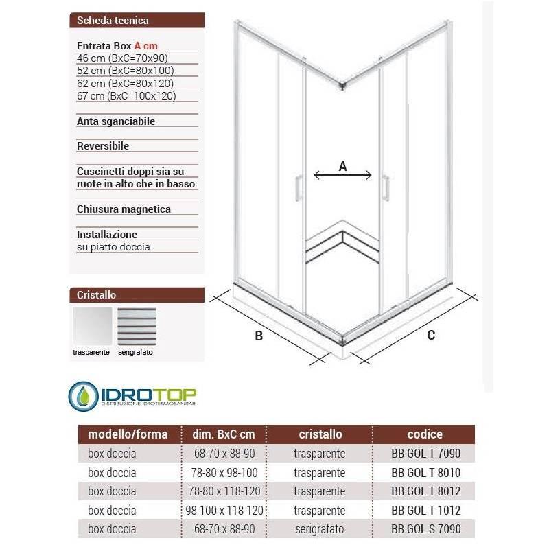 Box Doccia 70x90 Cristallo 6 Mm.Box Doccia Rettangolare 80x120 Cristallo Trasparente 6mm Telaio Cromato