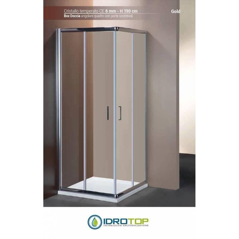 Box doccia quadrato 80x80 cristallo trasparente 6mm telaio - Box doccia trasparente ...