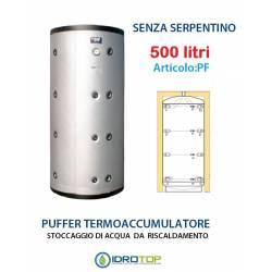 Puffer 500 lt Serbatoio Accumulo per Acqua Riscaldamento Senza Serpentino