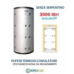 Puffer 3000 lt Serbatoio Accumulo per Acqua Riscaldamento Senza Serpentino