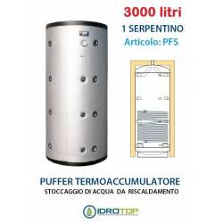 Puffer 3000 lt Serbatoio con 1 Serpentino - Accumulo per Acqua Riscaldamento
