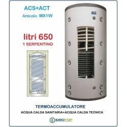 Termoaccumulatore 650 lt Bollitore Combinato ACS+ACT 1 Serpentino-Serbatoio Acqua