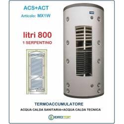 Termoaccumulatore 800 lt Bollitore Combinato ACS+ACT 1 Serpentino-Serbatoio Acqua