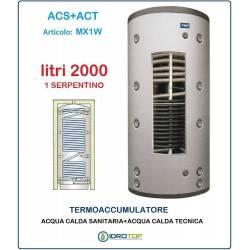 Termoaccumulatore 2000 lt Bollitore Combinato ACS+ACT 1 Serpentino-Serbatoio Acqua