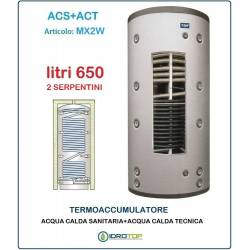 Termoaccumulatore 650 lt Bollitore Combinato ACS+ACT 2 Serpentini-Serbatoio Acqua
