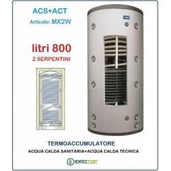 Termoaccumulatore 800 lt Bollitore Combinato ACS+ACT 2 Serpentini-Serbatoio Acqua
