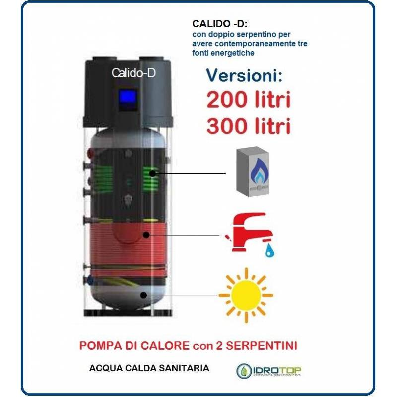 Pompa di calore per acqua calda sanitaria 2 serpentini for Tubi di acqua calda sanitaria