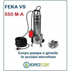 Pompa Sommergibile FEKA VS 550 M-A con Galleggiante cavo e Spina.Per acque Nere