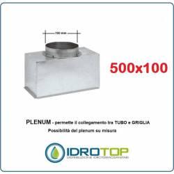 Plenum per bocchette 500x100mm d.100 x NOVA A in lamiera Zincata(non isolato)