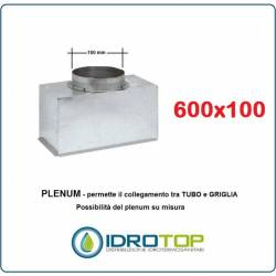 Plenum per bocchette 600x100mm d.100 x NOVA A in lamiera Zincata(non Isolato)