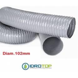 Tubo Flessibile diam.102 PVC Estensibile a 10 mt per Condizionamento e Ventilazione