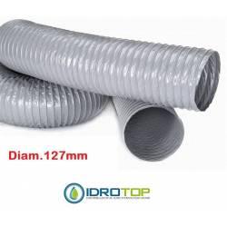 Tubo Flessibile diam.127 PVC Estensibile a 10 mt per Condizionamento e Ventilazione