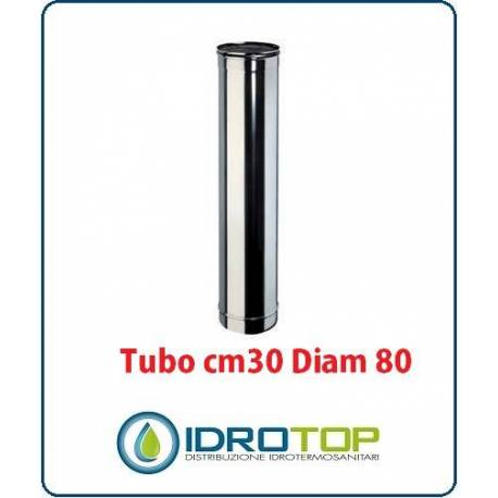 Tubo Cm 30 Diam. 80 Monoparete in Acciaio Inox per Caminetti e Stufe
