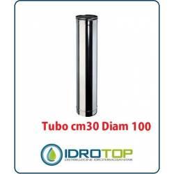 Tubo Cm 30 Diam. 100 Monoparete in Acciaio Inox per Caminetti e Stufe