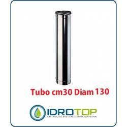 Tubo Cm 30 Diam. 130 Monoparete in Acciaio Inox per Caminetti e Stufe