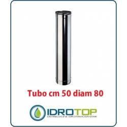 Tubo Cm 50 Diam.80 Monoparete in Acciaio Inox per Caminetti e Stufe