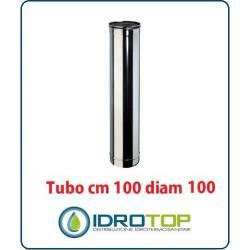 Tubo Cm 100 Diam.100 Monoparete in Acciaio Inox per Caminetti e Stufe