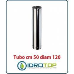 Tubo Cm 50 Diam 120mm Monoparete in Acciaio Inox per Caminetti e Stufe