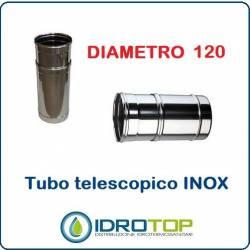 Elemento Diritto Diam.120 Regolabile Telescopico Monoparete Inox per Canne Fumarie