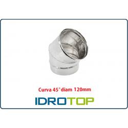 Curva 45' Diam 120 Monoparete Inox per Canne Fumarie