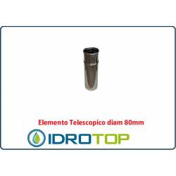 Elemento Diritto Diam.80 Regolabile Telescopico Monoparete Inox per Canne Fumarie