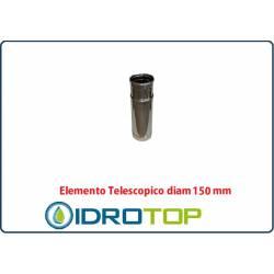 Elemento Diritto Diam.150 Regolabile Telescopico Monoparete Inox per Canne Fumarie