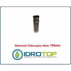 Elemento Diritto Diam.100 Regolabile Telescopico Monoparete Inox per Canne Fumarie