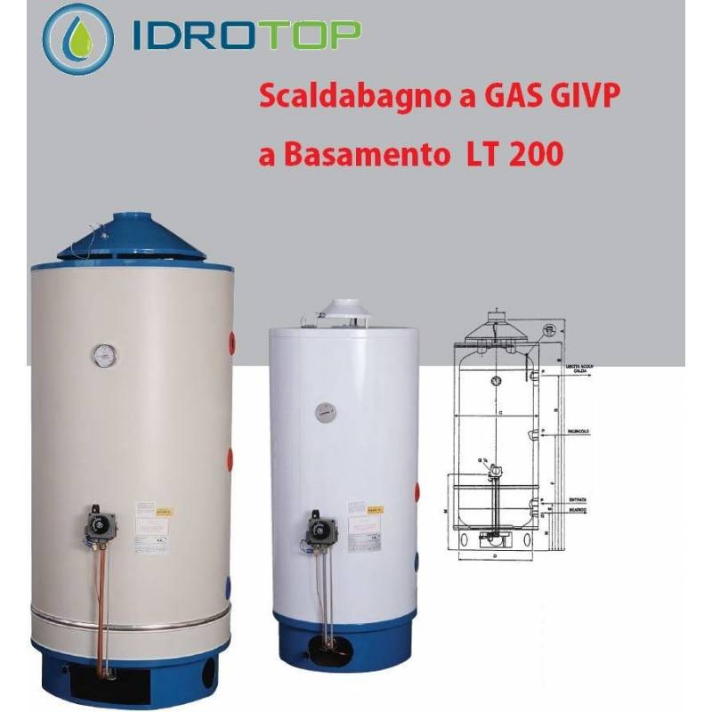Scaldabagno gas givp 200lt basamento uso industriale anodo for Scaldabagno a gas bricoman