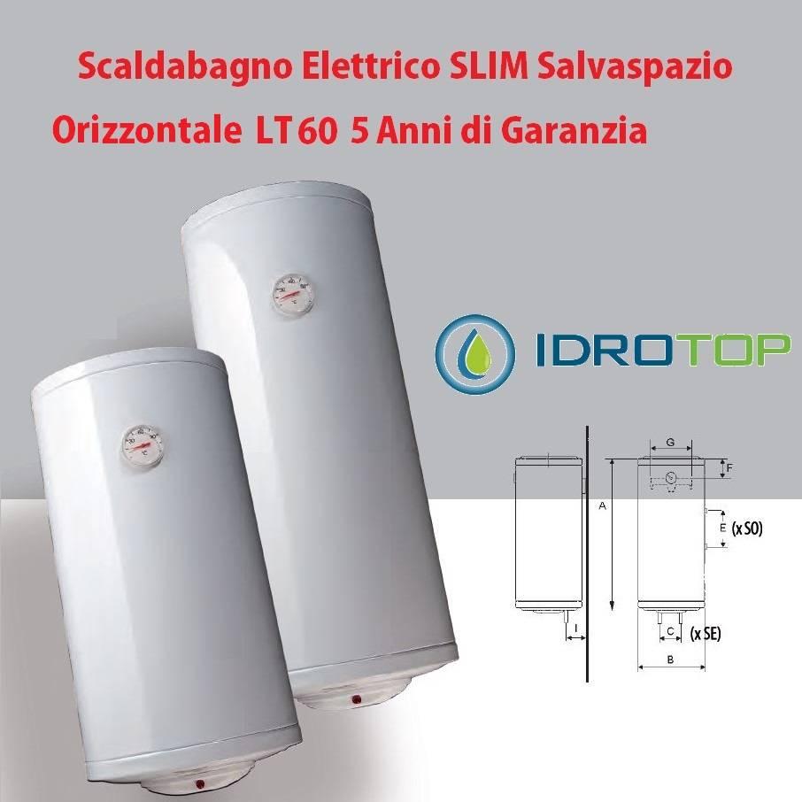 Superior Scaldabagno LT 60 Elettrico SLIM Salvaspazio Orizzontale 5 Anni Garanzia