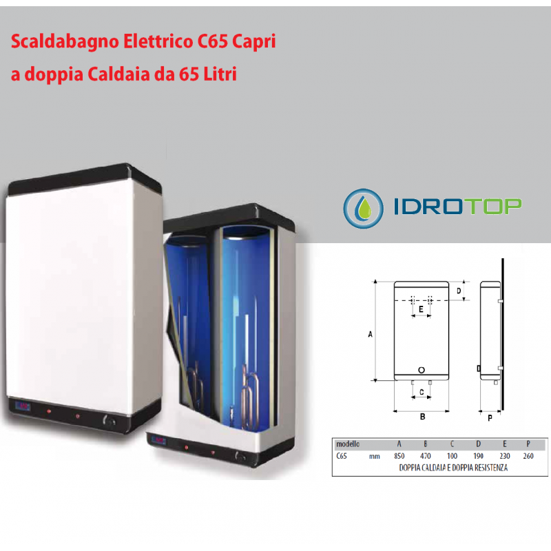 Scaldabagno lt60 elettrico c65 capri doppia caldaia con 2 - Resistenza scaldabagno ...