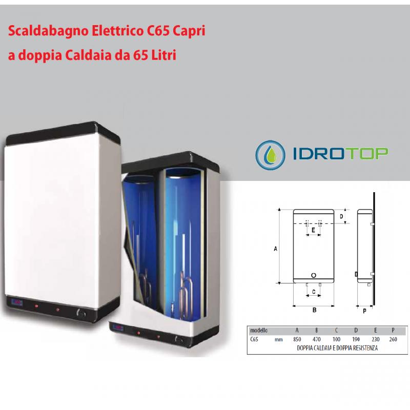 Scaldabagno lt60 elettrico c65 capri doppia caldaia con 2 resistenze - Scalda bagno elettrico ...