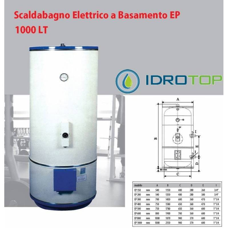 Scaldabagno elettrico 1000lt mod ep a basamento con piedi - Scaldabagno elettrico istantaneo ...